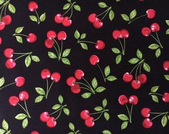 Robert Kaufman Fabric Cherry Toss on Black-  yardage