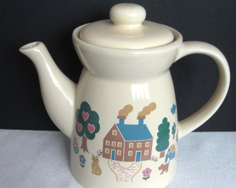 Vintage Tan Ceramic Coffeepot/Teapot with Country House Scene
