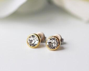 Small Clear Swarovski Crystal Titanium Studs Brilliant Gold Simple Posts Earrings