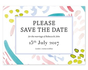 x 30 hand painted Brooklyn save the date cards