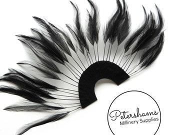 Stripped Hackle Feather Fan for Fascinators & Hat Making - Black