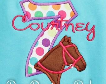Horse Birthday Shirt, Horse Embroidered Shirt, Cowgirl Birthday Shirt, Girls Birthday Shirt, Girls Horse Shirt, Horse Birthday, Any Age