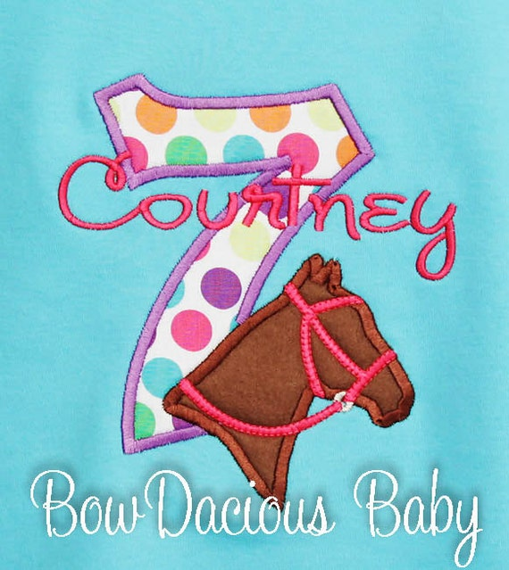Horse birthday shirt embroidered cowgirl