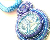 Light blue flowers bead embroidery necklace