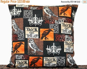 Halloween Sale Owls Halloween Pillow Cover Cushion Raven Script Chandelier Trick or Treat Black Orange Brown Decorative  18x18