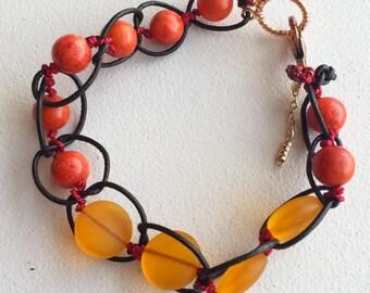 Leather Firestone Knotted Bracelet