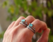 Apatite gemstone ring,branch ring,sterling silver,handmade,rough stone,raw,uncut,made to order.