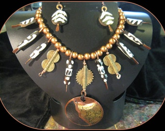 208 OUT OF AFRICA tribal adjustable necklace and earrings