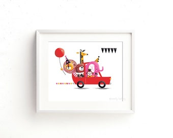 Clown Car - Giclee of an original illustration (8 x 10in)