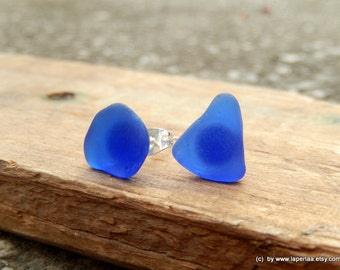 Mermaid Post Earrings - BLUE -Organic Sea Glass Earrings with Genuine Natural Amalfi Sea Glass /nr30