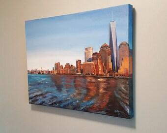 Original Oil Painting of New York Skyline - 24 x 18