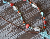 Turquoise and Red Necklace - Leather Necklace - Rustic Boho - Southwestern Necklace - Cross Necklace - Boho Necklace - Bohemian - Bead Soup