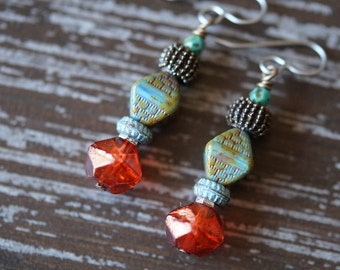 Bead Stack Earrings - Boho Vibrant Earrings - Orange and Turquoise - Rustic Earrings - Stainless Steel Earrings