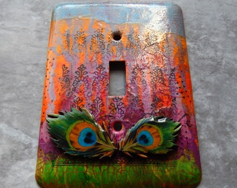 Peacock Feathers, abstract, mixed media, switch plate cover, light switch, one of a kind