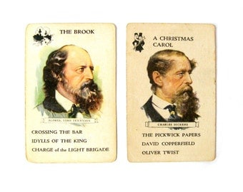 Antique Author Cards, Author Card Lot, Louisa May Alcott Trading Card, Tennyson Trading Card, Stevenson Trade Card, Charles Dickens Card