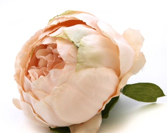 Vintage Inspired Cream Peach Peony - Artificial Flower - Silk Flower Heads