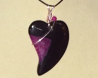 Agate Heart Pendant Wire Wrapped Necklace Jewelry