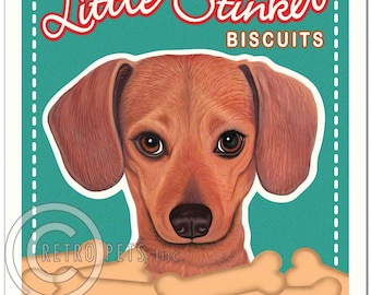 """8x10 Dachshund Art - Little Stinker Biscuits - """"For They Who Must Be Obeyed""""  -  Art print by Krista Brooks"""