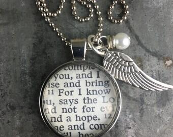 Vintage Bible Verse Pendant Necklace Jeremiah 29 11