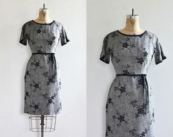 Vintage 1950s Dress • Black Eyelet dress • Wiggle Embroidered Dress • 50s Party Dress • Black Dress • Small Medium