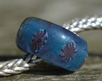 Silver Core Options - SALE - Purple Handmade Lampwork Glass European Charm Bead - Fits all charm bracelets