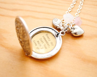 Every day remember just how much I love you - Quote Locket - Women's Locket - Daughter Jewelry, Gift for Wife, Mom Quote