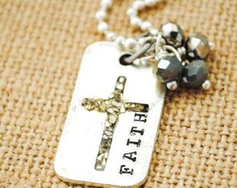 Faith Dog Tag Necklace - Christian Jewelry, Faith Necklace, Easter, Confirmation, Baptism, Dedication