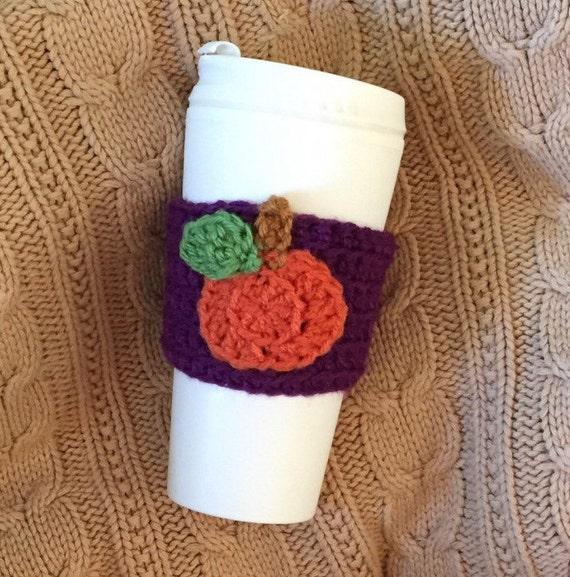crochet coffee cozy, crochet cozy with pumpkin, coffee cozy/sleeve ...