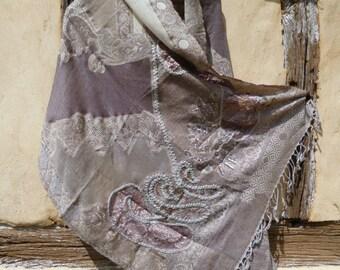 "Delicate Embroidered Pashmina. Gauzy, lacy shawl/stole. 74 x 28"". Kashmir. 188 x 72 cm"