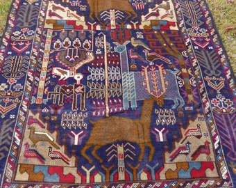 """Gorgeous Pictorial Hunting Carpet Rug  Woven Kilim/Tapis. 6 ft 7"""" x 3 ft 11""""   201 x 118 cm. Traditional."""