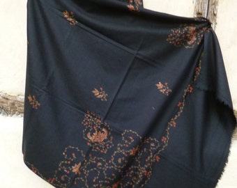 "Black Ari Embroidered Pashmina. Luxurious shawl/stole. Pashmina wool 84 x 40"". Kashmir."