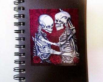 Skeleton Lovers Spiral Notebook Planner, Original Day of the Dead Gothic Dark Art Design