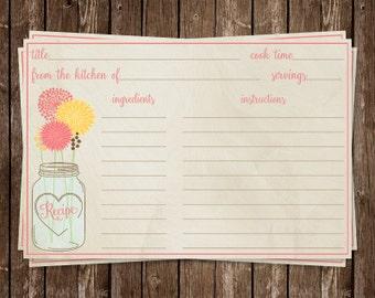 Mason Jar Bridal Shower, Recipe Card, Coral, Yellow, Wedding, Rustic, Country, Chic, Shabby, Vintage, 24 Printed Cards, FREE shipping, MAJAY