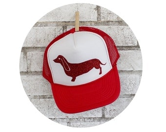 Wiener Dog Foam Front Trucker Hat With RED Glitter Vinyl, Foam Front Hat, Baseball Cap,  High front, Dachshund Puppy, Family Pet Cute Animal