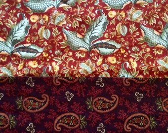 Sale fabric, bargain remnants, autumn fabric two yards rust brown sage paisley Henry Glass