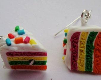 Pair of Rainbow layer cake slice Silver plated hook earrings