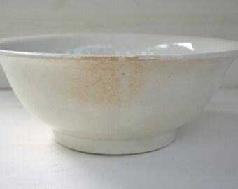 Antique French Large Porcelain Wash Bowl - French Farmhouse/French Stoneware St Amand 1906-1930