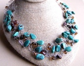 Turquoise Necklace, Wire Crochet Necklace, Turquoise and Czech Glass, Statement Necklace