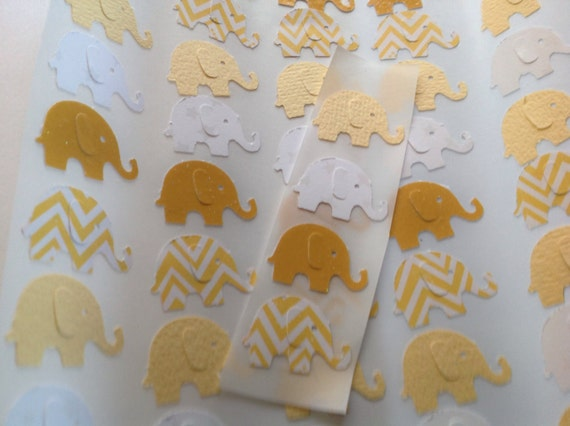 50 pc Yellow and White Chevron Paper Elephant Stickers