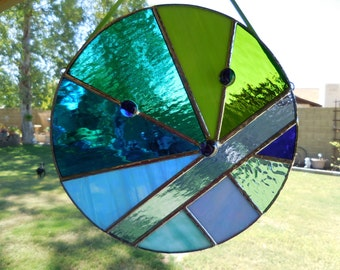 Stained Glass Round Panel-Handmade-Christmas-Gift for him or her-Birthday-Unique-Window Decor-Anniversary-House Warming-One of a kind-