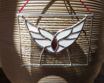 Stained Glass Panel-Handmade-Wings-Decor-House Warming-Anniversary-Suncatcher-Birthday-Gift for her or him-Mothers Day-Fathers Day-Unique