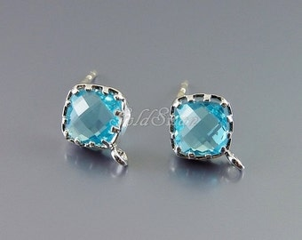 GoldSwan exclusive - 1 pair / 2 pcs aquamarine glass 8.5mm stud earrings, silver earrings with loop 5136R-AQ
