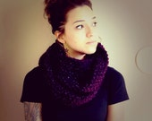 Knitted Infinity Scarf in Dark Purple & Purple Tinsel Handmade with Acrylic Wool Blend Cowl Scarf