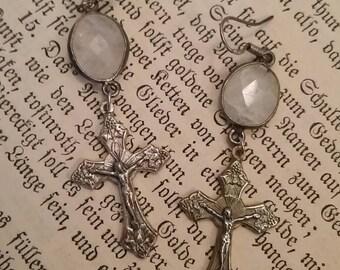 Upcycled Religious Cross Assemblage Earrings, Moonstone, ooak, Simple