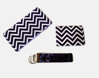 Purple Chevron Checkbook Cover, Credit Card / Business Card Holder, Purple Key Fob - 3 Piece Set - Chevron Purse Accessory Set - Mini Wallet