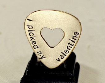 Bronze guitar pick for Valentines Day with a heart and message of love - GP863