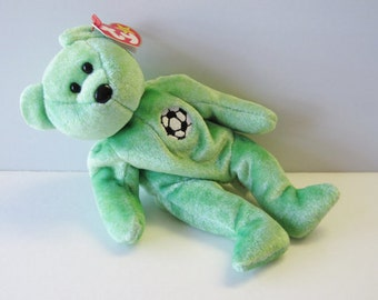 Soccar Beanie Bear w tag--Ex Cond--Hard Find--20-70%  off SALES throughout our Shop