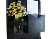 Mail Organizer - Mail and Key Holder - Letter Holder - Key Hooks - Jar Vase - Organizer