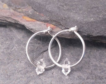 Simplicity. Natural Raw Crystal Hoops. Small Silver Hoop Earrings. Sterling Silver. Herkimer Diamond Hoops. 10mm / 13mm. Limited Edition.
