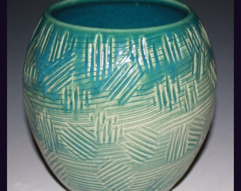 Hand Thrown and Carved Vase with Cerrilios Turquoise Glaze